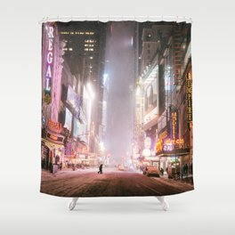New York City Colorful Snowy Night in Times Square Shower Curtain