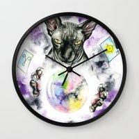 scarface Wall Clocks featuring Daubie the fortune teller  by Psyca