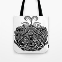 henna Tote Bags featuring Henna of Pugly by Huebucket