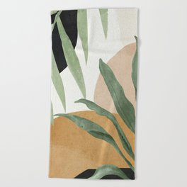 Abstract Art Tropical Leaves 4 Beach Towel