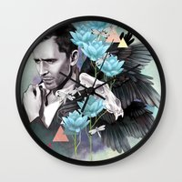 tom hiddleston Wall Clocks featuring Tom Hiddleston by Yan Ramirez