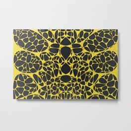 Yellow on black, organic abstraction Metal Print