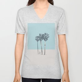 Palm trees on a solitary beach Unisex V-Neck