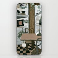 cafe iPhone & iPod Skins featuring View from the Cafe by Yuliya