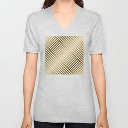 Art Deco Gold and Eggshell White Geometric Pattern Unisex V-Neck