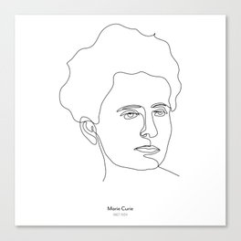 Minimalistic black and white line drawing Marie Curie Canvas Print