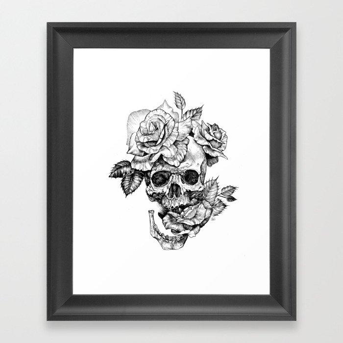 Black and White skull with roses pen drawing Gerahmter Kunstdruck