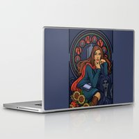 nouveau Laptop & iPad Skins featuring Pond Nouveau by Karen Hallion Illustrations