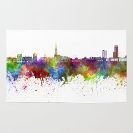 Leeuwarden skyline in watercolor background Rug