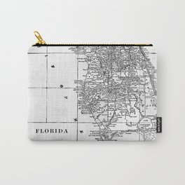 Vintage Map of Florida (1909) BW Carry-All Pouch