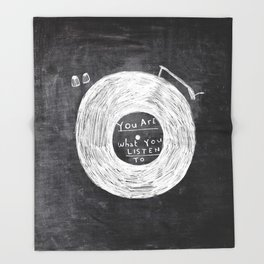 you are what you listen to, BLACK Throw Blanket