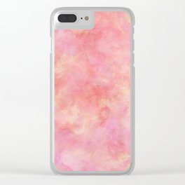 Blush Pink & Peach Marble Watercolor Texture Clear iPhone Case