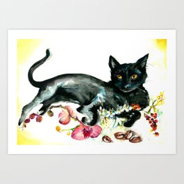 Coffee, Orchid and Black Cat Vintage Style Large Format XXL Art Print