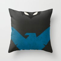 nightwing Throw Pillows featuring Nightwing by JHTY