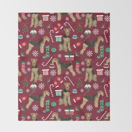 Airedale Terrier christmas stocking candy canes winter snowflakes dog breed Throw Blanket
