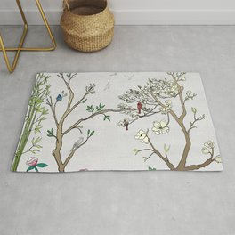 Chinoiserie Panels 1-2 Silver Gray Raw Silk - Casart Scenoiserie Collection Rug
