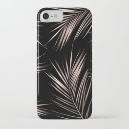 Rosegold Palm Tree Leaves on Midnight Black iPhone Case