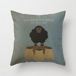 Baa Baa Black Sheep. Children's Nursery Rhyme Inspired Artwork. Throw Pillow