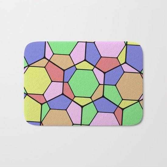 Stained Glass Tortoise Shell - Geometric, pastel, hexagon patterned artwork Bath Mat