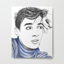 Portrait Drawing of Adrien Sahores Metal Print