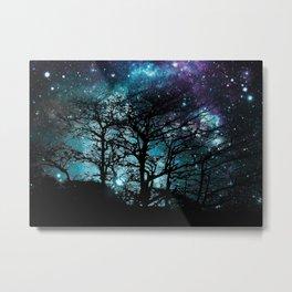Black Trees Teal Violet space Metal Print
