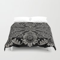 victorian Duvet Covers featuring Victorian Monochrome by The Digital Weaver