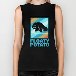 Manatee Retro Vintage Save The Floaty Potatoes design Gift Biker Tank