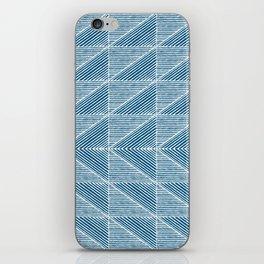 Teal Blue Diagonal Lines iPhone Skin