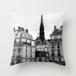 A View of Sainte Chapelle from the Right Bank of the Seine River, Paris, France Throw Pillow