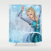 frozen elsa Shower Curtains featuring Elsa by Brett Parkey