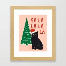 Black Cat cute fa la la christmas xmas tree holiday funny cat art cat lady gift unique pet gifts Framed Art Print