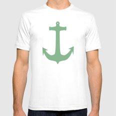 Anchors Away! MEDIUM White Mens Fitted Tee