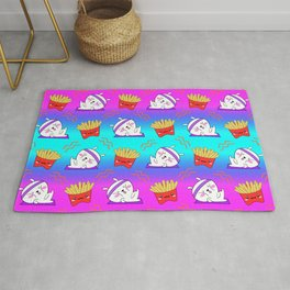 Cute sweet adorable Kawaii fitness bunnies exercising on a yoga mat, yummy happy funny French fries colorful rainbow blue pink pattern design. Workout and comfort food. Rug