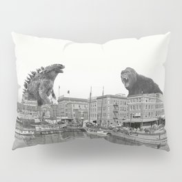 Godzilla and King Kong Rumble in Baltimore Pillow Sham