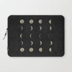 Moon Phases, Black White Decor, Bohemian, Magic, Lunar Cycle Laptop Sleeve