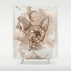 Watercolor Sphynx (Sepia/Coffee stain) Shower Curtain