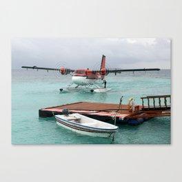 Sea Plane Arriving at Meedhupparu Island Resort, Maldives Canvas Print