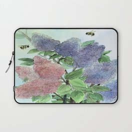 Lilacs and Bees Watercolor Painting Laptop Sleeve