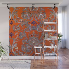 Painted Tibetan Brocade orange Wall Mural