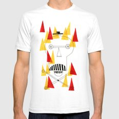 Flaming Skull SMALL White Mens Fitted Tee