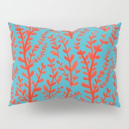 Turquoise and Red Leaves Pattern Pillow Sham