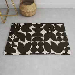 Black & White Mid Century Modern Pattern Rug