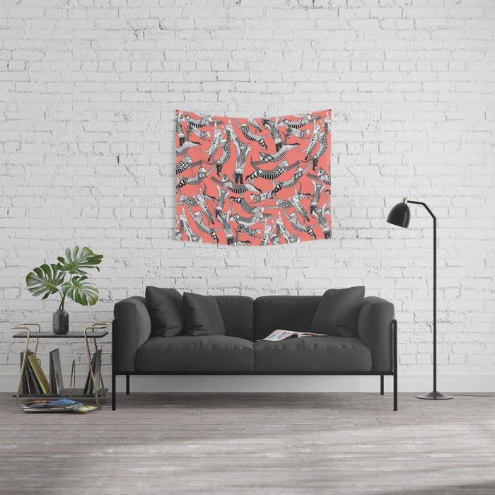 cat party blush coral Wall Tapestry