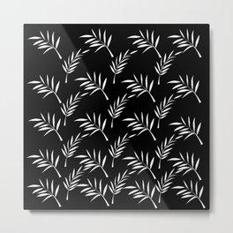 Black and White Leaf Design Metal Print