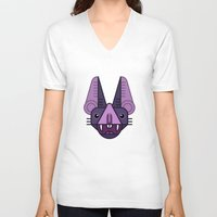 bat V-neck T-shirts featuring Bat! by FOUR SECOND MEMORY