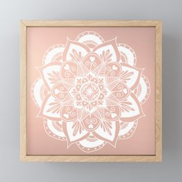 Flower Mandala on Rose Gold Framed Mini Art Print