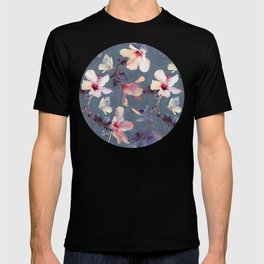 Butterflies and Hibiscus Flowers - a painted pattern T-shirt