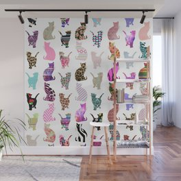 Girly Whimsical Cats aztec floral stripes pattern Wall Mural
