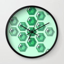 Green Gradient Hexagon Gemstones Wall Clock