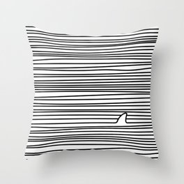 Minimal Line Drawing Simple Unique Shark Fin Gift Throw Pillow